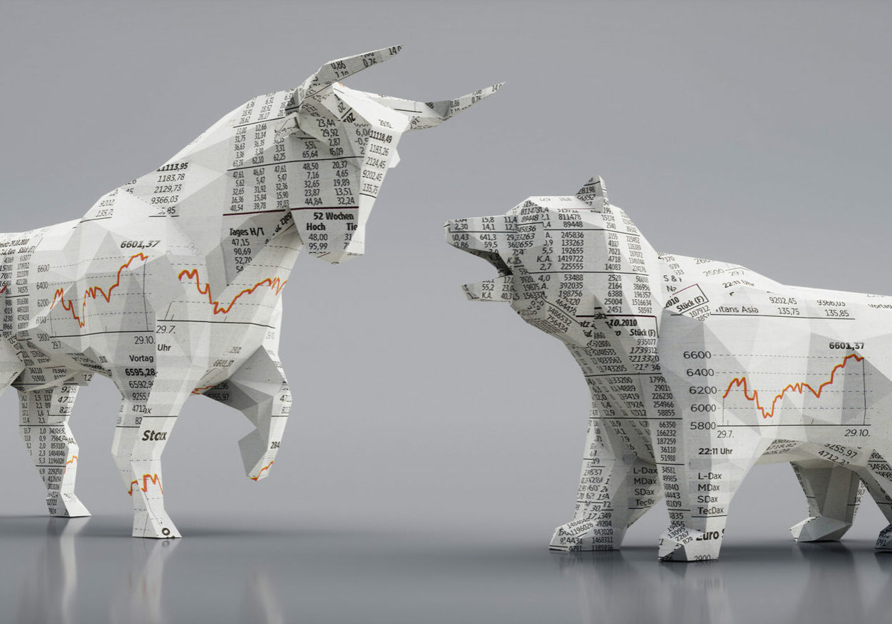 Bull and bear textured with stock market graphics